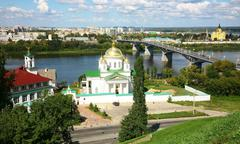 Summer annunciation monastery and nevsky cathedral nizhny novgorod Stock Photos