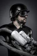 scifi.starfighter with huge plasma rifle, fantasy concept, military helmet an - stock photo