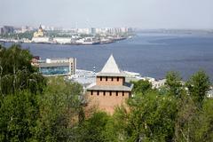 View of spit cape strelka (arrow) from kremlin nizhny novgorod, russia. Stock Photos