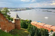 Stock Photo of view to strelka from nizhny novgorod kremlin in russia