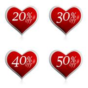 Different percentages off discount in red hearts buttons Stock Illustration