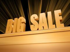 Stock Illustration of big sale over golden pedestal
