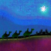 Stock Illustration of classic three magic scene and shining star of bethlehem