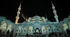 The courtyard of the Sultanahmet Camii Blue Mosque in Istanbul in 4K Stock Footage