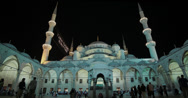 Stock Video Footage of The courtyard of the Sultanahmet Camii Blue Mosque in Istanbul in 4K