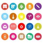 celebration flat icons on white background - stock illustration