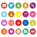 Stock Illustration of celebration flat icons on white background