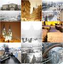 Stock Illustration of collage fabulous winter prague