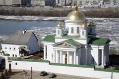 nizhny novgorod - the annunciation (blagoveschensky) monastery (xiii). - stock photo