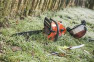 Stock Photo of chainsaw and pruning handsaw