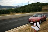 Stock Photo of relax man near bridge millau in france during trip