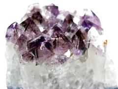 amethyst quartz geode geological crystals - stock photo