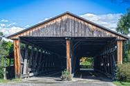 Stock Photo of double covered bridge in usa
