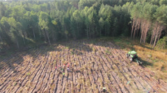 Aerial view of planting forest by HeliDog_Aerials - stock footage