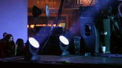 Lighting equipment, stage lights, live concert, teenage girls, fans on backstage Stock Footage