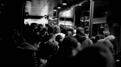Club Queue lined up in Black and White 30fps Stock Footage