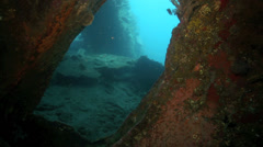 View inside the Liberty shipwreck in Tulamben, east Bali Stock Footage
