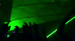 Dancing Hands Silhouettes In Club With Green Lasers 30fps Stock Footage