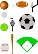 Sport items - stock illustration