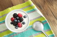 Stock Photo of delicious yogurt and fresh berries for breakfast