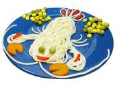 Stock Photo of creative pasta food crab shape