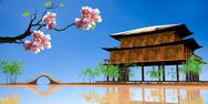 Stock Illustration of sakura with nice wood house