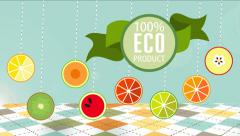 Organic food labels and elements animated Stock Footage