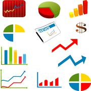 business Flow Chart And Icon Set - stock illustration
