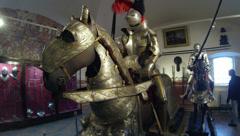 A knight in armor on horseback 2.7K - stock footage