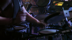 Performance, live club concert, band on stage, drummer, rock music Stock Footage