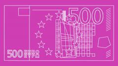 Euro - 500 bill (HD) - stock footage