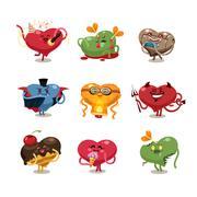 valentines hearts icons set - stock illustration