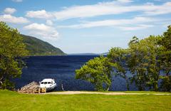 planked footway on loch ness - stock photo