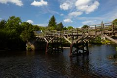 old trestle style wooden bridge - stock photo