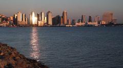 Downtown San DIego skyline Stock Footage