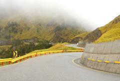 The zigzag mountain road - stock photo