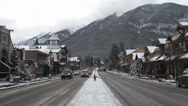 Stock Video Footage of Banff, Alberta Mainstreet winter