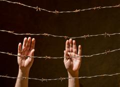 hand behind barbed wire - stock photo