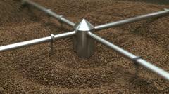 Roasted coffee in cooling bin, wide shot Stock Footage