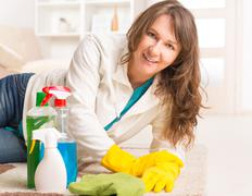 Beautiful young woman cleaning her house Stock Photos