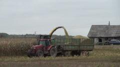 Combine harvester load ripe corns into tractor trailer Stock Footage