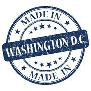 made in washington dc blue round grunge isolated stamp - stock illustration