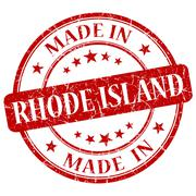 Made in rhodeisland red round grunge isolated stamp Stock Illustration