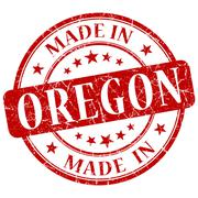 Made in oregon red round grunge isolated stamp Stock Illustration