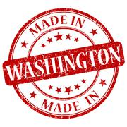made in washington red round grunge isolated stamp - stock illustration