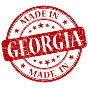 Stock Illustration of made in georgia red round grunge isolated stamp