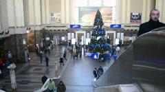 pine-tree, Kiev Central Railway Station in Kiev, Ukraine. - stock footage