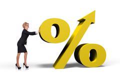 businesswoman pushing  percent - stock illustration