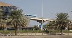 Ultra HD 4K Metro Train Dubai Depart Passing Leave Station Terminal UAE Commuter Stock Footage