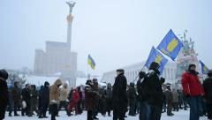 Protesters in the city center, Euro maidan meeting, Kiev, Ukraine. Stock Footage
